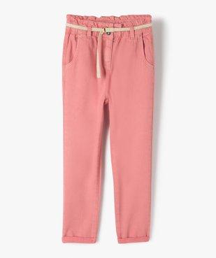 Pantalon fille ample avec taille haute et ceinture tressée vue1 - GEMO (ENFANT) - GEMO