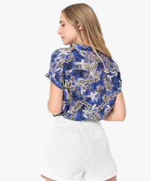 Chemise femme imprimée à manches courtes et bas élastiqué vue3 - GEMO(FEMME PAP) - GEMO