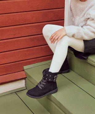 Boots fille zippés en suédine unie avec étoiles métallisées vue1 - GEMO (ENFANT) - GEMO