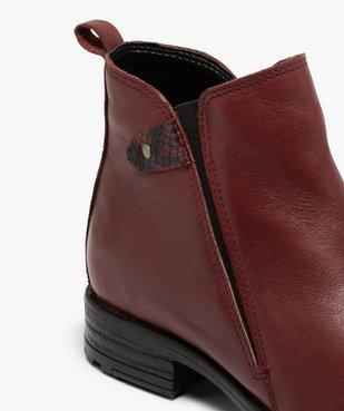 Boots femme à talon plat dessus en cuir uni vue6 - GEMO (CASUAL) - GEMO