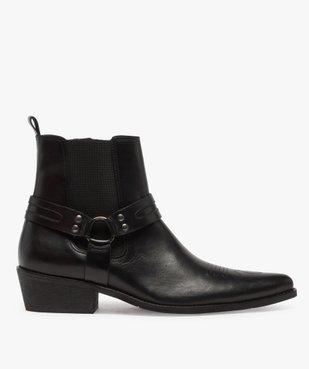 Boots homme unis zippés style santiags vue1 - GEMO(URBAIN) - GEMO
