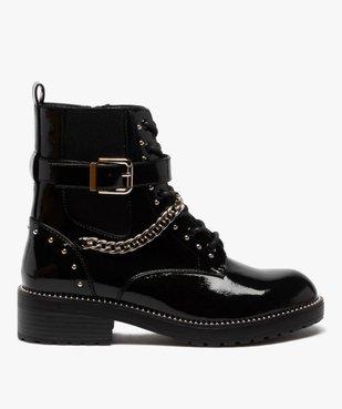 Boots femme vernis à détails métallisés style rock vue1 - GEMO (CASUAL) - GEMO