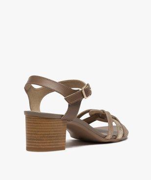 Sandales femme à talon carré et brides métallisées vue4 - GEMO(URBAIN) - GEMO