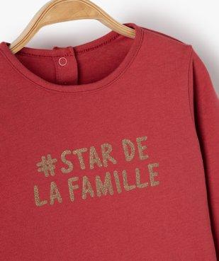 Tee-shirt bébé fille à volant avec inscription pailletée vue2 - Nikesneakers(BEBE DEBT) - Nikesneakers