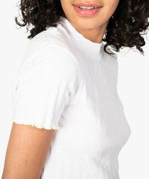 Tee-shirt femme effet rayé avec manches courtes et finitions fantaisie vue2 - FOLLOW ME - GEMO