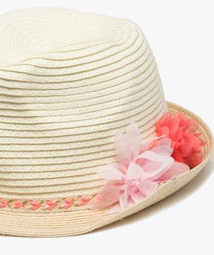 Chapeau fille avec ruban tressé et fleurs en relief vue2 - Nikesneakers (ENFANT) - Nikesneakers