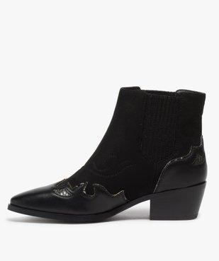 Boots femme style santiags multimatières à col élastiqué vue3 - Nikesneakers (CASUAL) - Nikesneakers