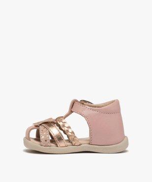 Sandales premiers pas bébé fille en cuir vue3 - Nikesneakers(BEBE DEBT) - Nikesneakers