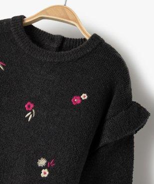 Pull bébé fille avec motifs fleurs brodés et volant aux épaules vue2 - GEMO(BEBE DEBT) - GEMO