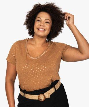 Tee-shirt femme à col V et détails dorés vue1 - GEMO (G TAILLE) - GEMO