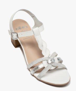 Sandales femme à talon carré et fines brides en cuir vue5 - GEMO(URBAIN) - GEMO