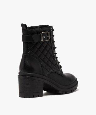 Boots femme à talon carré dessus en matière matelassée vue4 - GEMO(URBAIN) - GEMO