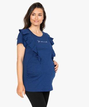 Tee-shirt de grossesse à message et volants vue1 - GEMO (MATER) - GEMO
