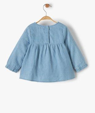 Blouse bébé fille en chambray avec motifs brodés vue3 - GEMO(BEBE DEBT) - GEMO