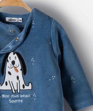 Pyjama bébé garçon en velours avec motifs animal vue2 - GEMO(BB COUCHE) - GEMO