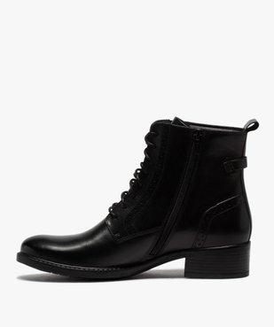 Boots femme à talon plat style derbies à lacets et zip vue3 - GEMO (CASUAL) - GEMO