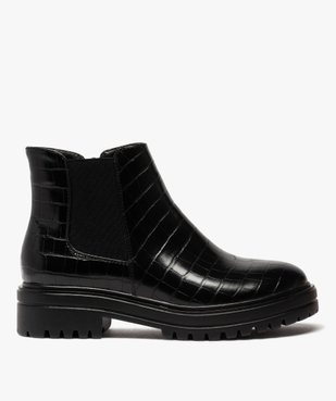 Boots femme unis à semelle crantée dessus imitation croco vue1 - GEMO (CASUAL) - GEMO