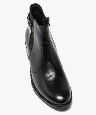 Boots femme à talon plat unis dessus cuir et bride fantaisie vue5 - GEMO (CASUAL) - GEMO