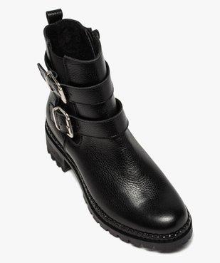 Boots femme à talon large unies en cuir à semelle crantée vue5 - GEMO (CASUAL) - GEMO