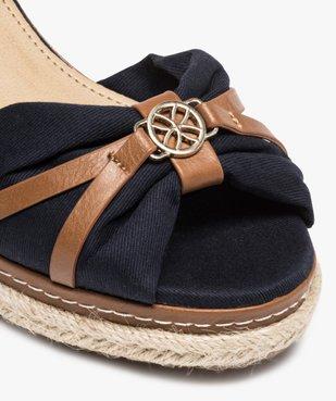 Sandales femme à talon compensé et dessus toile drapée vue6 - GEMO(URBAIN) - GEMO