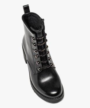 Boots femme à talon carré avec lacets chaînettes vue5 - GEMO(URBAIN) - GEMO