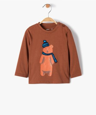 Tee-shirt bébé garçon à manches longues à motif recto-verso vue1 - GEMO(BEBE DEBT) - GEMO