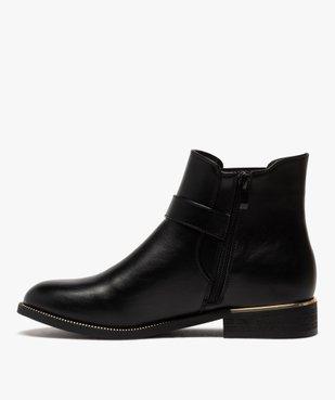 Boots femme unis à talon plat et chaine métallique vue3 - GEMO (CASUAL) - GEMO