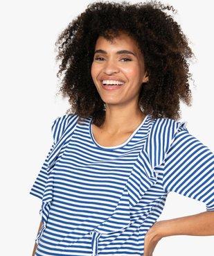 Tee-shirt de grossesse rayé à volants vue2 - GEMO (MATER) - GEMO