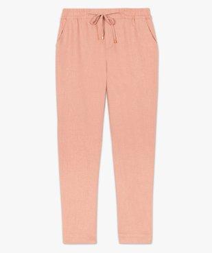 Pantalon femme en lin avec ceinture élastiquée vue4 - GEMO(FEMME PAP) - GEMO