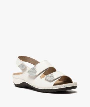 Sandale femme confort à larges brides scratch vue2 - GEMO (CONFORT) - GEMO