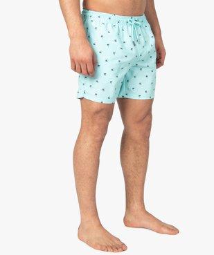 Short de bain homme à petits motifs palmiers vue1 - GEMO (PLAGE) - GEMO