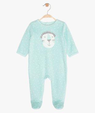 Pyjama bébé en velours à pont-dos pressionné vue1 - GEMO C4G BEBE - GEMO