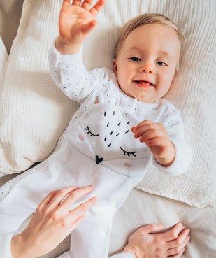 Pyjama bébé fille ouverture devant avec motif chat vue6 - GEMO(BB COUCHE) - GEMO
