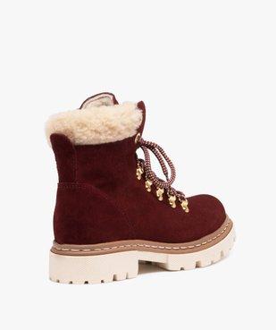 Boots fourrées femme dessus cuir à col sherpa vue4 - GEMO (CASUAL) - GEMO