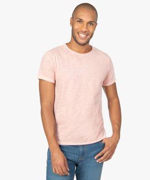 Tee-shirt homme à manches courtes avec finitions roulottées vue1 - GEMO (HOMME) - GEMO