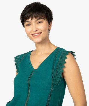 Tee-shirt femme à col V dentelle et crochet vue2 - GEMO(FEMME PAP) - GEMO