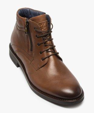 Boots homme zippés dessus cuir uni fermeture lacets vue5 - GEMO (CASUAL) - GEMO