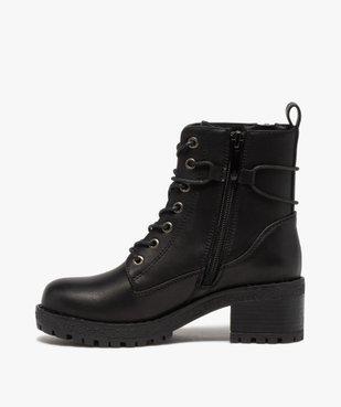 Boots fille unies à talon et semelle crantée fermeture zip vue3 - GEMO (ENFANT) - GEMO