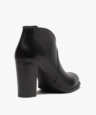 Low-boots femme à talon droit dessus cuir uni vue4 - GEMO(URBAIN) - GEMO