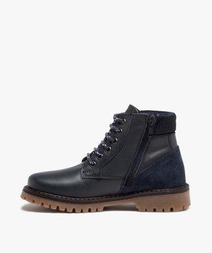 Boots garçon avec dessus cuir uni et semelle crantée vue3 - GEMO - GEMO