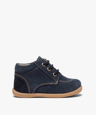 Chaussures premiers pas bébé garçon unies en cuir vue1 - GEMO(BEBE DEBT) - GEMO