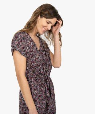 Combishort femme à motifs fleuris boutonné sur l'avant vue2 - Nikesneakers(FEMME PAP) - Nikesneakers