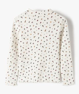 Tee-shirt fille en maille côtelée à motifs fleuris vue5 - GEMO C4G FILLE - GEMO
