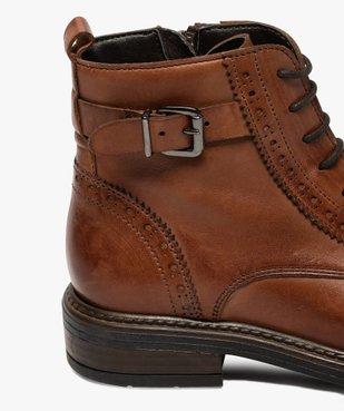 Boots fille dessus cuir ajouré à fermeture lacets et zip vue6 - GEMO (ENFANT) - GEMO