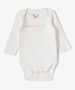 Body bébé fille manches longues à rayures et fleurs (lot de 3) vue2 - GEMO C4G BEBE - GEMO
