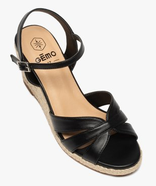 Sandales femme à talon compensé brillant et brides unies vue5 - GEMO(URBAIN) - GEMO