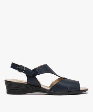 Sandales femme confort en cuir avec petit talon vue1 - GEMO (CONFORT) - GEMO