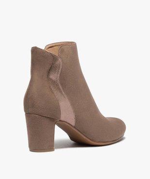 Boots femme à talon unis dessus suédine et textile brillant vue4 - GEMO(URBAIN) - GEMO