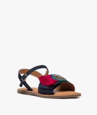 Sandales fille en cuir avec perroquet brodé en perles vue2 - GEMO (ENFANT) - GEMO