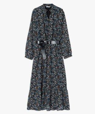 Robe femme longue en voile imprimé et grosse ceinture vue4 - Nikesneakers(FEMME PAP) - Nikesneakers